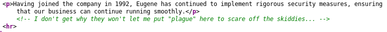 Screenshot showing the HTML comment on /staff