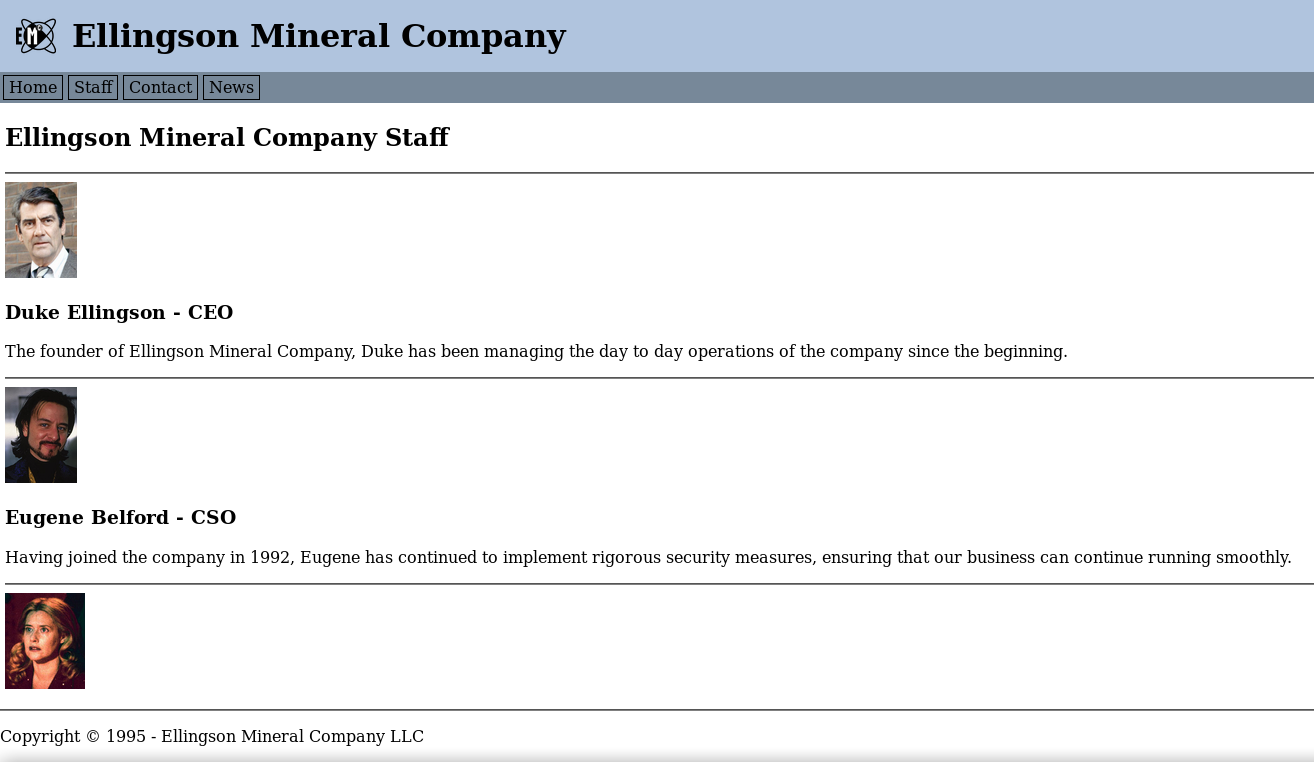 Screenshot showing the page on /staff